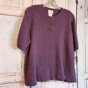 Roaman's Purple Pullover Sweater Size L Short Slv